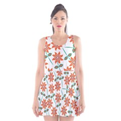 Floral Seamless Pattern Vector Scoop Neck Skater Dress