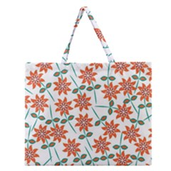Floral Seamless Pattern Vector Zipper Large Tote Bag