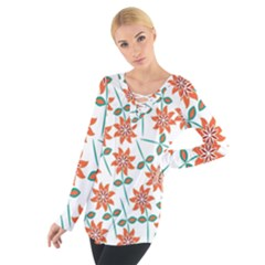 Floral Seamless Pattern Vector Women s Tie Up Tee