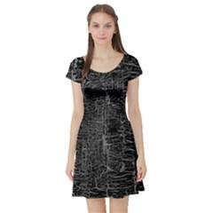Old Black Background Short Sleeve Skater Dress
