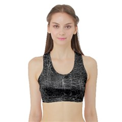 Old Black Background Sports Bra With Border
