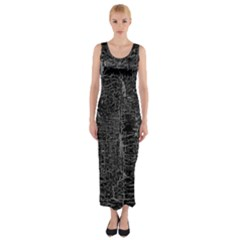 Old Black Background Fitted Maxi Dress