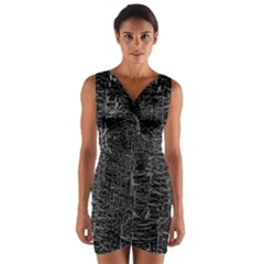 Old Black Background Wrap Front Bodycon Dress