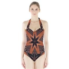 Digital Kaleidoskop Computer Graphic Halter Swimsuit