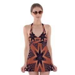 Digital Kaleidoskop Computer Graphic Halter Swimsuit Dress