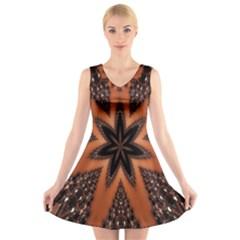Digital Kaleidoskop Computer Graphic V Neck Sleeveless Skater Dress