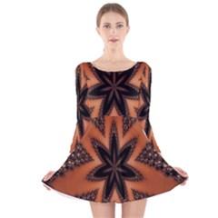 Digital Kaleidoskop Computer Graphic Long Sleeve Velvet Skater Dress