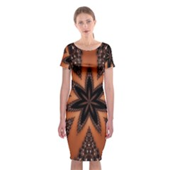 Digital Kaleidoskop Computer Graphic Classic Short Sleeve Midi Dress