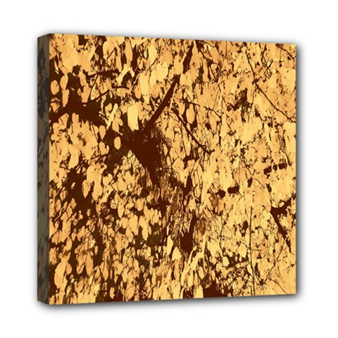 Abstract Brachiate Structure Yellow And Black Dendritic Pattern Mini Canvas 8  x 8