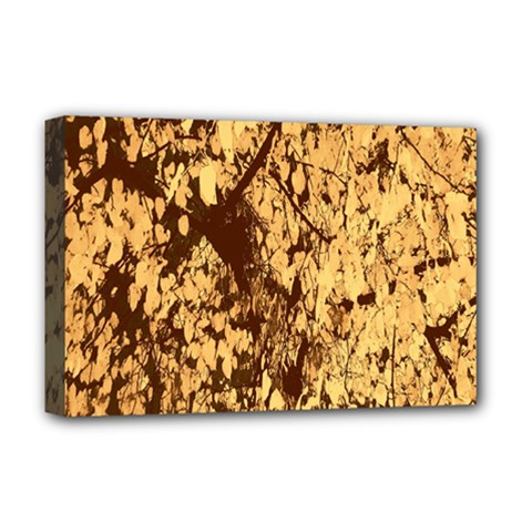 Abstract Brachiate Structure Yellow And Black Dendritic Pattern Deluxe Canvas 18  x 12