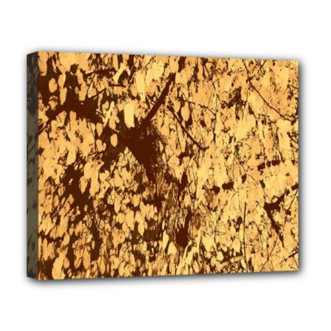 Abstract Brachiate Structure Yellow And Black Dendritic Pattern Deluxe Canvas 20  x 16