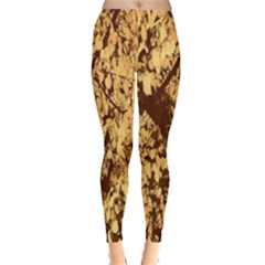 Abstract Brachiate Structure Yellow And Black Dendritic Pattern Leggings