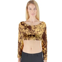 Abstract Brachiate Structure Yellow And Black Dendritic Pattern Long Sleeve Crop Top