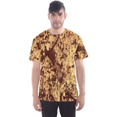 Abstract Brachiate Structure Yellow And Black Dendritic Pattern Men s Sport Mesh Tee