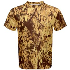 Abstract Brachiate Structure Yellow And Black Dendritic Pattern Men s Cotton Tee