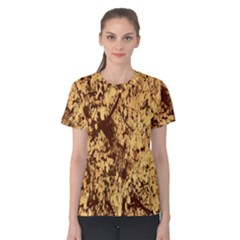 Abstract Brachiate Structure Yellow And Black Dendritic Pattern Women s Cotton Tee