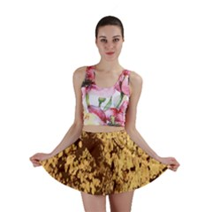 Abstract Brachiate Structure Yellow And Black Dendritic Pattern Mini Skirt