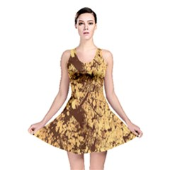 Abstract Brachiate Structure Yellow And Black Dendritic Pattern Reversible Skater Dress
