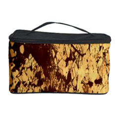 Abstract Brachiate Structure Yellow And Black Dendritic Pattern Cosmetic Storage Case