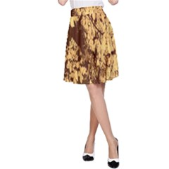 Abstract Brachiate Structure Yellow And Black Dendritic Pattern A Line Skirt