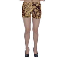 Abstract Brachiate Structure Yellow And Black Dendritic Pattern Skinny Shorts