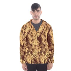 Abstract Brachiate Structure Yellow And Black Dendritic Pattern Hooded Wind Breaker (Men)