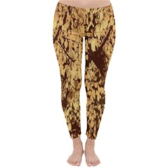 Abstract Brachiate Structure Yellow And Black Dendritic Pattern Classic Winter Leggings