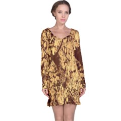 Abstract Brachiate Structure Yellow And Black Dendritic Pattern Long Sleeve Nightdress