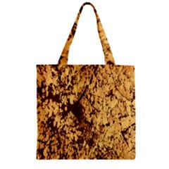 Abstract Brachiate Structure Yellow And Black Dendritic Pattern Zipper Grocery Tote Bag
