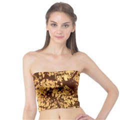 Abstract Brachiate Structure Yellow And Black Dendritic Pattern Tube Top