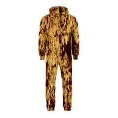 Abstract Brachiate Structure Yellow And Black Dendritic Pattern Hooded Jumpsuit (kids)