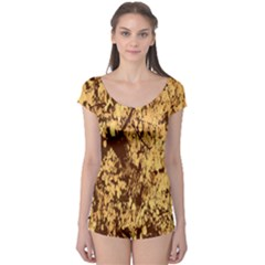 Abstract Brachiate Structure Yellow And Black Dendritic Pattern Boyleg Leotard
