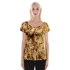Abstract Brachiate Structure Yellow And Black Dendritic Pattern Women s Cap Sleeve Top