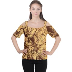 Abstract Brachiate Structure Yellow And Black Dendritic Pattern Women s Cutout Shoulder Tee