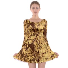 Abstract Brachiate Structure Yellow And Black Dendritic Pattern Long Sleeve Skater Dress