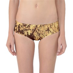 Abstract Brachiate Structure Yellow And Black Dendritic Pattern Classic Bikini Bottoms