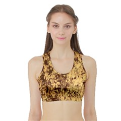 Abstract Brachiate Structure Yellow And Black Dendritic Pattern Sports Bra With Border