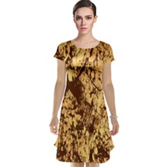 Abstract Brachiate Structure Yellow And Black Dendritic Pattern Cap Sleeve Nightdress