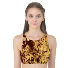 Abstract Brachiate Structure Yellow And Black Dendritic Pattern Tank Bikini Top