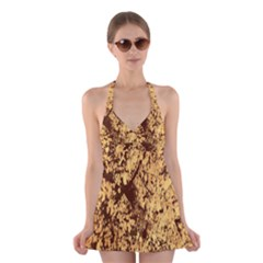 Abstract Brachiate Structure Yellow And Black Dendritic Pattern Halter Swimsuit Dress