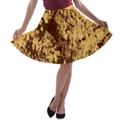 Abstract Brachiate Structure Yellow And Black Dendritic Pattern A-line Skater Skirt