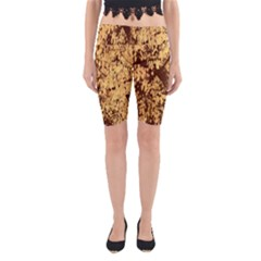Abstract Brachiate Structure Yellow And Black Dendritic Pattern Yoga Cropped Leggings