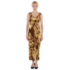Abstract Brachiate Structure Yellow And Black Dendritic Pattern Fitted Maxi Dress