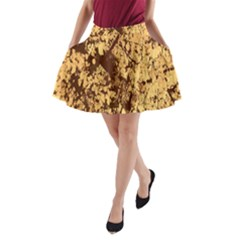 Abstract Brachiate Structure Yellow And Black Dendritic Pattern A Line Pocket Skirt