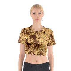 Abstract Brachiate Structure Yellow And Black Dendritic Pattern Cotton Crop Top