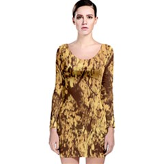 Abstract Brachiate Structure Yellow And Black Dendritic Pattern Long Sleeve Velvet Bodycon Dress