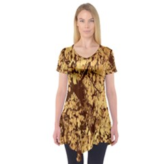 Abstract Brachiate Structure Yellow And Black Dendritic Pattern Short Sleeve Tunic