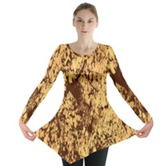 Abstract Brachiate Structure Yellow And Black Dendritic Pattern Long Sleeve Tunic