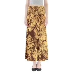 Abstract Brachiate Structure Yellow And Black Dendritic Pattern Maxi Skirts