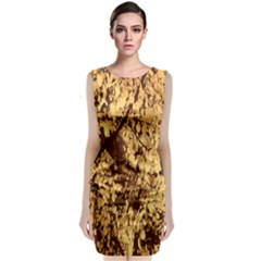 Abstract Brachiate Structure Yellow And Black Dendritic Pattern Classic Sleeveless Midi Dress
